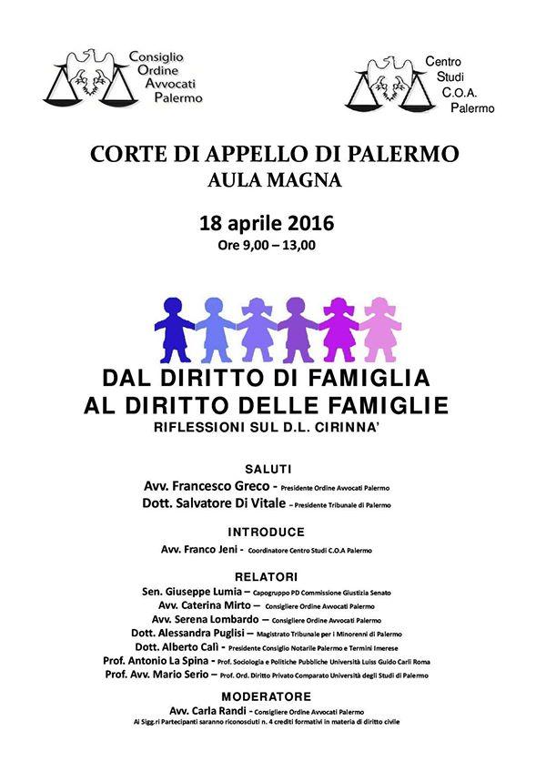 Dal Diritto di famiglia al Diritto delle famiglie - 18 aprile 16